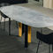 contemporary dining table / walnut / lacquered metal / marble