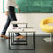 contemporary nesting tables / lacquered steel / concrete / square
