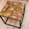 contemporary side table / petrified wood / square / for restaurants