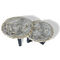 contemporary side table / petrified wood / round / oval