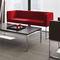 contemporary sofa / metal / leather / fabric