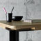contemporary table / wooden / stainless steel / rectangular