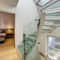 Quarter-turn staircase / glass steps / metal frame / without risers BRIGHT Delineo