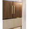 contemporary bar cabinet / walnut / polished brass / leather
