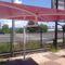offset patio umbrella / glass fiber-reinforced polyester / PVC-coated