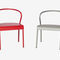 original design dining chair / with armrests / powder-coated steel / outdoor