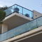 glass railing / aluminum / with bars / outdoor