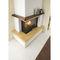 contemporary fireplace mantel / wooden / stone / corner