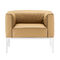 contemporary armchair / fabric / leather / orange