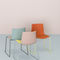 contemporary chair / upholstered / stackable / sled base