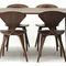 contemporary dining table / walnut / oval / commercial