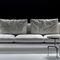 contemporary sofa / fabric / leather / metal