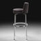 contemporary bar stool / leather / metal / fabric