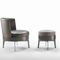 contemporary armchair / fabric / leather / wooden