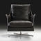 contemporary armchair / metal / fabric / leather