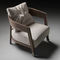 contemporary armchair / solid wood / fabric / leather