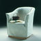 traditional armchair / fabric / leather / with removable cover