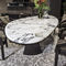 contemporary table / marble / leather / rectangular