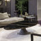 contemporary coffee table / painted metal / leather / marble