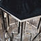 contemporary side table / metal / leather / marble