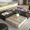 contemporary coffee table / walnut / ebony / leather