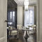 contemporary dining table / metal / marble / leather