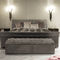 traditional upholstered bench / fabric / leather / with storage compartment