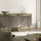 contemporary sideboard / glass / bronze / leather