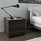 contemporary bedside table / lacquered wood / glass / rectangular