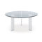 contemporary table / walnut / tempered glass / aluminum