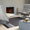 contemporary fireside chair / cotton / leather / metal