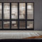 high bookcase / contemporary / wooden / glass-front