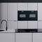 contemporary kitchen / glass / island / with integrated handle
