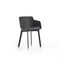 contemporary chair / upholstered / with armrests / sled base