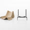 contemporary chair / metal / wooden / leather