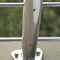 stainless steel railing / with bars / glass panel / outdoor