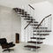 Quarter-turn staircase / wooden steps / steel frame / without risers GENIUS : 010 FONTANOT - ALBINI & FONTANOT