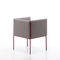 contemporary armchair / fabric / painted steel / gray