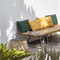 contemporary sofa / outdoor / fabric / iroko