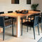 contemporary restaurant chair / with armrests / upholstered / leather