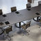 contemporary boardroom table / leather / wood veneer / oval