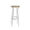 contemporary bar stool / chromed metal / rattan / for public spaces