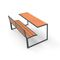 contemporary bench and table set / wooden / galvanized steel / outdoor