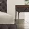 contemporary bedside table / wooden / smoked glass / stainless steel