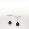 contemporary pedestal table / marble / tempered glass / chromed metal