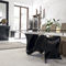 contemporary dining table / tempered glass / rectangular / extending