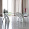 contemporary dining table / metal / tempered glass / oval
