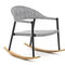 contemporary armchair / solid wood / iroko / painted aluminum
