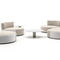 contemporary coffee table / metal / HPL / round