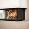 wood-burning fireplace / contemporary / closed hearth / 3-sided